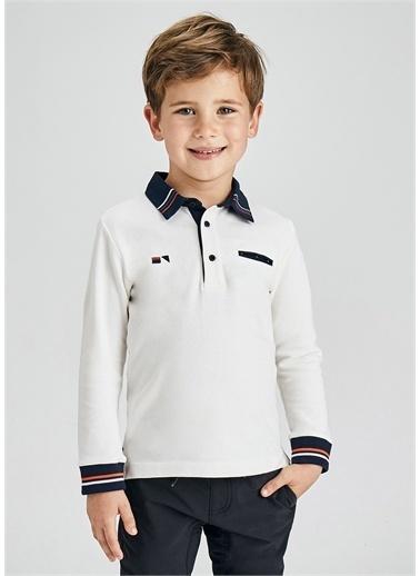 Mayoral Mayoral Erkek Çocuk Poo Yaka Sweatshirt Beyaz
